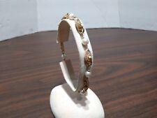 Antique 14k Yellow Gold Snake Skin Design Pearl Bracelet