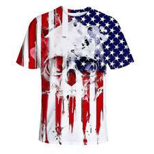Men American Flag Independence Day T shirt 4th of July Short Sleeves Skull print