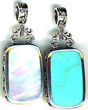 925 Sterling Silver Turquoise & White Mother of Pearl Reversible Pendant 1.3/4""