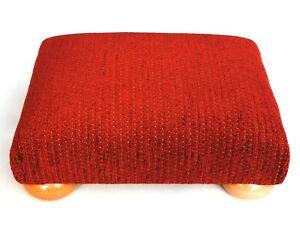 Biagi Upholstery & Design Diamond Pattern Chenille Footstoolon Solid Wood Legs