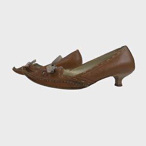 FAITH Ladies Womens Shoes Size UK 8 EU 41 Brown Leather Bow Court Heels