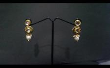 Gold plated kundan ethnic drop earrings