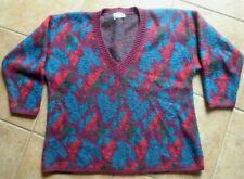 Benetton Vtg Sweater Italy V Neck Plus Red Blue Purple men women styled Europe