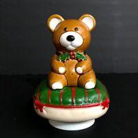 Vintage Neiman Marcus Ceramic Christmas Teddy Bear Spinning Music Box