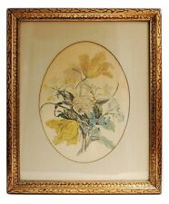 Antique Vintage Water Color Flower Painting print Wood Framed with Glass
