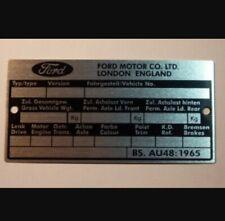 Ford Chassis Plate, ENGLAND MK 1& MK 2 Escort,Capri,New VIN TAG