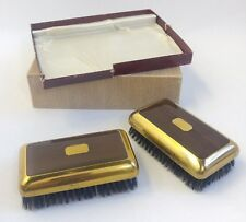 2 Vintage Clothing Brushes Mid-Century Modern in Box Faux Wood Grain & Gold Tone