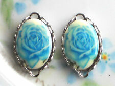 #1497G Vintage Glass Connectors Findings Rose Blue Retro Charms Oval NOS