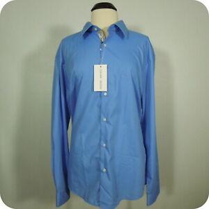 JORDAN JASPER Men's Blue Dress Shirt Collared Floral Print Trim sz 3XL (NEW) NWT