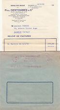 FACTURE avec ENVELOPPE PAUL DESTOMBES ROUBAIX 6 rue foch draperie 1960