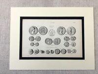 1880 Print Old Coins Imperial Roman Coin Money Numismatics Antique Original
