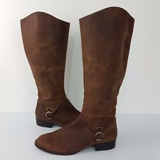 Diana Ferrari Womens Boots SZ 8 Brown Distressed Waxed Leather Buckle