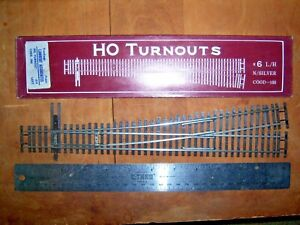 Shinohara HO Code 100 #6 L/H Turnout N/Silver Model Railroad Track New!