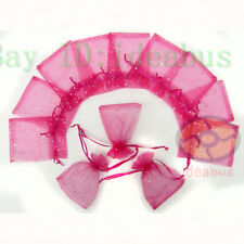 "Organza Pouches Jewelry Wedding Bags 100Pcs HotPink with Silver Dots 4.75""x3.5"""
