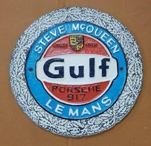 Cast Iron Wall Sign - GULF LE MANS STEVE McQUEEN - 24cm x 24cm