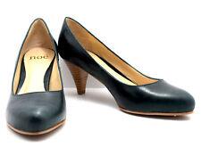 Noe Medium Mid Heel Women Leather Pump Court Shoes Dark Green Multiple Sizes