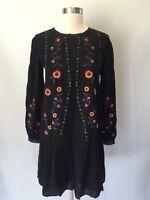 New Madewell Sezane Embroidered Elise Dress Black Paris Design Sz 38 H1225 $185
