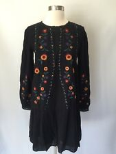 New Madewell Sezane Embroidered Elise Dress Black Paris Design Sz 38 H1225 $185