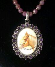 Handpainted  Porcelain Vtg amethyst horse pendant Ruby bead necklace removable