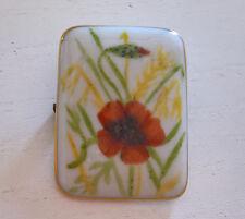 Brosche aus Porzellan bemalt Mohnblume Getreide Goldrand vintage