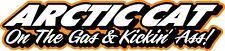 "Arctic Cat On The Gas & Kickin' Ass snowmobile sticker decal 22"" orange"