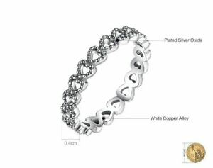 925 Sterling Silver Romantic Heart to Heart Ring CZ Ring - Choose a Size