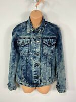 WOMENS THE ROCKN REV UK 8 BLUE ACID WASH BUTTON UP CASUAL DENIM JEAN JACKET COAT