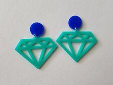 Statement acrylic laser cut aqua teal diamond dangle earrings dark blue pad