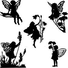 Die Cut Outs Silhouette Garden Flower Fairies 10 set fairy jar scrapbook Shapes