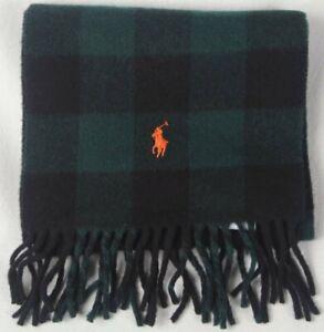 Polo Ralph Lauren Green Black Plaid Wool Scarf Orange Pony NWT