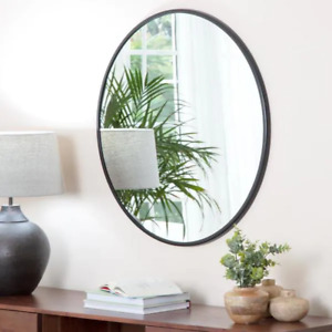 30 in. x 30 in. Modern Round Framed Adelina Black Circular Accent Mirror