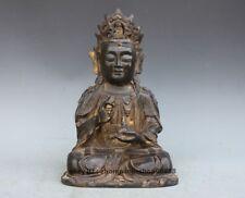 Tibet old purple Bronze Folk Temple Kwan-yin Bodhisattva Guanyin  Statue 12