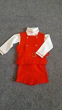 Vintage Boy's Toddler 3 piece Red Sweater Set, Size 12 Months