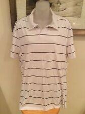 Lululemon White/Blk stripe Collared Polo Short Sleeve Shirt Mens Xl