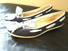 Sperry Top Sider Womens Size 10m Blue with Fabric and Bow Wedge Boat Shoe