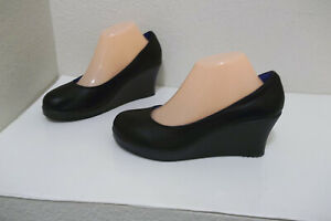 WOMENS CROCS BLACK LEATHER WEDGE SLIP ON SHOES SZ 9