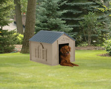 Indoor & Outdoor Dog House Medium Large Breeds Gray Blue Shelter Air Circulation