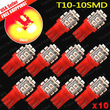 10x Pure RED T10 Wedge 10SMD 3528 LED License Interior Dome Map W5W 192 194 2825