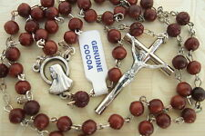 Catholic Rosary 5mm Dk BROWN Genuine COCOA Wood beads Mary medal NOS w/ tag
