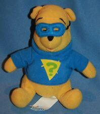 "Walt Disney Plush 7"" Winnie The Pooh Stuffed Animal Bear Detective Mask Blue"