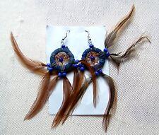 Federohrring blau 806 Dreamcatcher Traumfänger Ohrhänger Feder Ohrring Earring