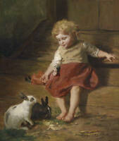 Perfect Oil painting lovely little girl with animals rabbits handpainted canvas