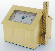Novelty Miniature House Clock in Gold Tone on Solid Brass (Furnished Inside)