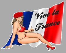 PIN UP VIVE LA FRANCE DRAPEAU 10cmX8cm AUTOCOLLANT STICKER AUTO VA177D