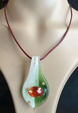 NEW Fashion Handmade Italian Lampwork Murano Glass Pendant Leaf Acrylic Necklace