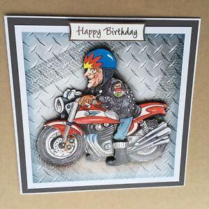 Handmade Birthday 3D decoupage old motor bike rider racer vintage biker card