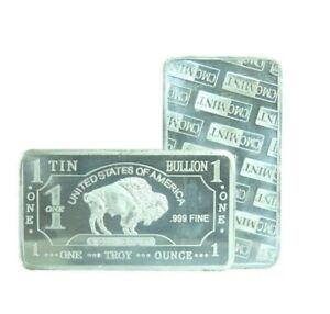 TIN Buffalo 1 Oz .999 Fine Tin Bullion Bar 1 Ounce