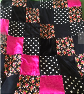 Quilted Throw Black & Pink Floral Skulls Lush Fabric