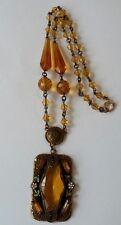 Antique Art Deco Citrine Czech Glass Enamel Necklace