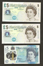 2004 / 2012 / 2016  England £5 Pounds Notes Set Uncirculated